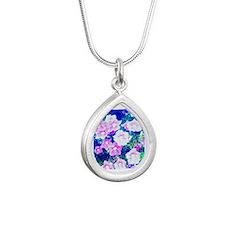 flower love Silver Teardrop Necklace