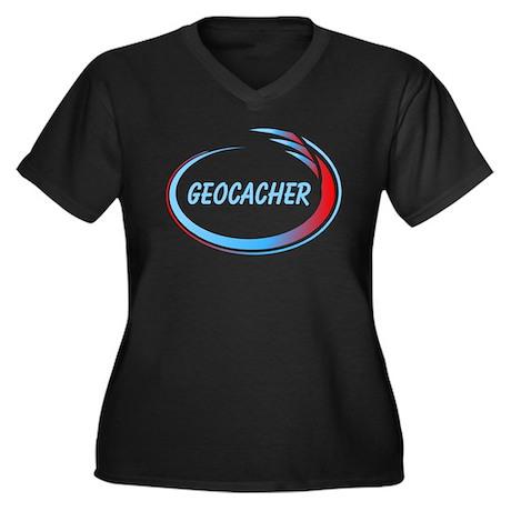 Blue Geocacher Pizzaz Women's Plus Size V-Neck Dar