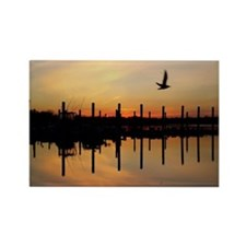 Sunset Over Belmar Marina Rectangle Magnet