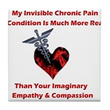 Invisible Chronic Pain Red Heart.png Tile Coaster