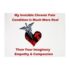 Invisible Chronic Pain Red Heart.png 5'x7'Area Rug