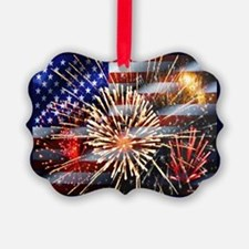 Usa Flag And Fireworks Ornament