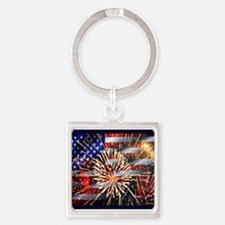 Usa Flag And Fireworks Keychains