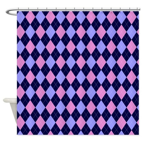 Blue And Pink Argyle Pattern Shower Curtain By AccessorizeMe