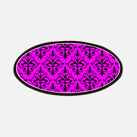 Black & Hot Pink Damask 41 Patches