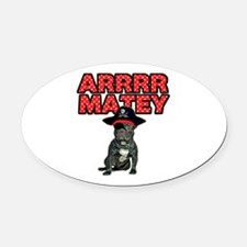 Pirate French Bulldog Oval Car Magnet