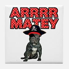 Pirate French Bulldog Tile Coaster