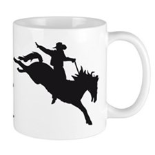 evolution of man cowboy rodeo horse riding Mugs