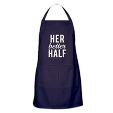 Her better half white text Apron (dark)