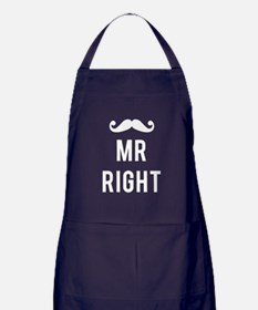 Mr right mustache white text Apron (dark)