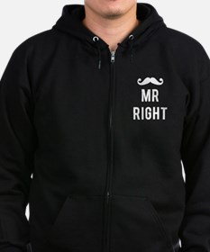 Mr right mustache white text Zip Hoodie