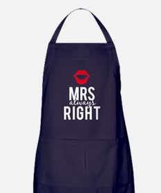 Mrs always right white text Apron (dark)