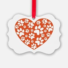 Dog Paws Heart Ornament