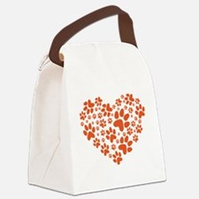 Dog Paws Heart 3 Canvas Lunch Bag