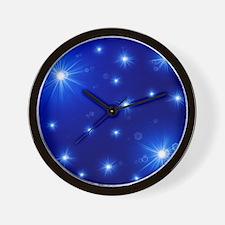helle sterne auf blau Wall Clock