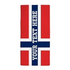 Personalize Flag of Norway Beach Towel