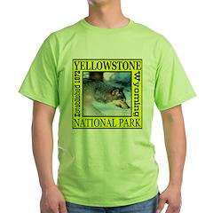 Yellowstone National Park Wol Green T-Shirt