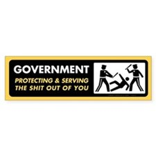 Government Protecting and Serving Bumper Car Sticker