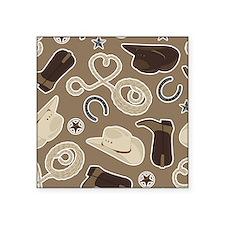 """Cute Brown Cowboy Theme Pat Square Sticker 3"""" x 3"""""""