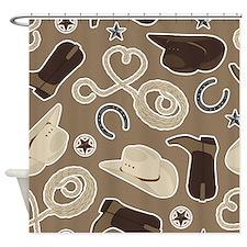 Cute Brown Cowboy Theme Pattern Shower Curtain