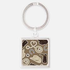 Cute Brown Cowboy Theme Pattern Square Keychain