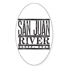 River Running Oval Stickers