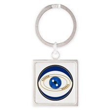 Evil Eye Blue Gold Accents Square Keychains