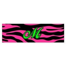 HOT PINK ZEBRA GREEN M Bumper Bumper Sticker