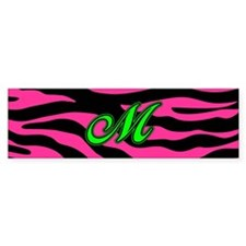 HOT PINK ZEBRA GREEN M Bumper Car Sticker