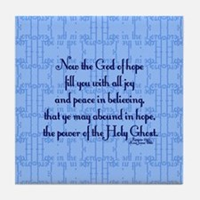 Romans 15:13 Scripture Tile Coaster