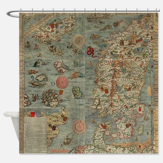 Carta Marina Sea Monster Map Shower Curtain