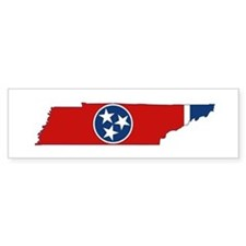 Tennessee State Flag and Map Bumper Bumper Sticker