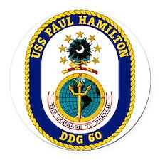 USS Hamilton DDG-60 Round Car Magnet