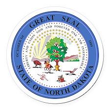 North Dakota Seal Round Car Magnet