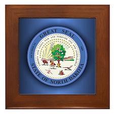 North Dakota Seal Framed Tile