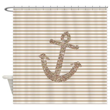 Gold Glitter Anchor Shower Curtain By Zenchic