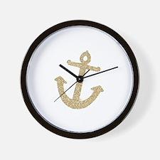 Gold Glitter Anchor Wall Clock