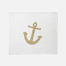 Gold Glitter Anchor Throw Blanket