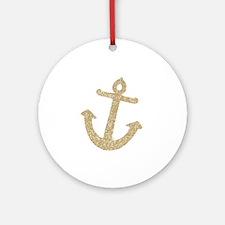 Gold Glitter Anchor Ornament (Round)