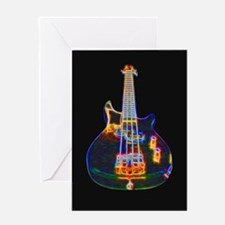 Stylized Electric Bass Guitar Greeting Cards