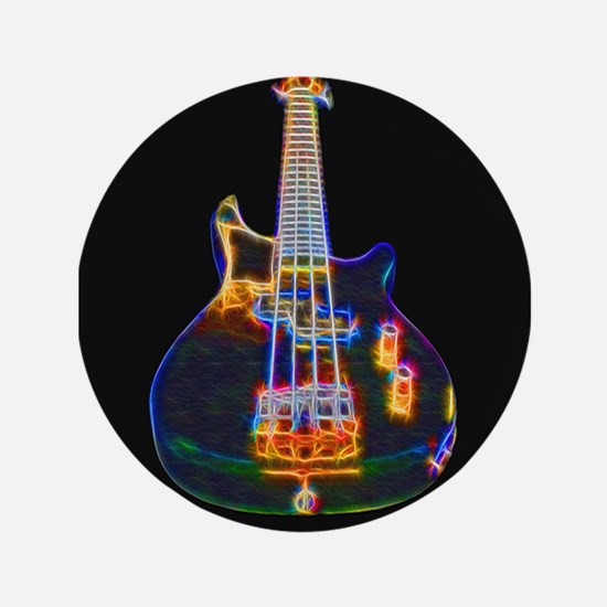 """Stylized Electric Bass Guitar 3.5"""" Button"""