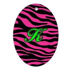HOT PINK ZEBRA GREEN K Ornament (Oval)