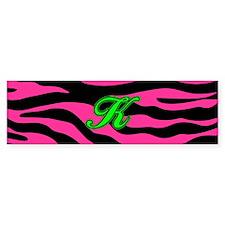 HOT PINK ZEBRA GREEN K Bumper Bumper Sticker