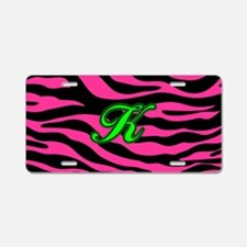 HOT PINK ZEBRA GREEN K Aluminum License Plate