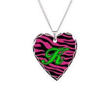 HOT PINK ZEBRA GREEN K Necklace