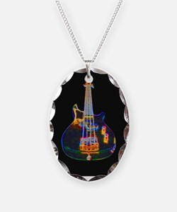 Stylized Electric Bass Guitar Necklace