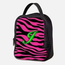 HOT PINK ZEBRA GREEN J Neoprene Lunch Bag