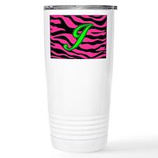 HOT PINK ZEBRA GREEN J Travel Mug