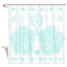 Ornate Aqua and White Decor Shower Curtain