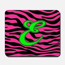 HOT PINK ZEBRA GREEN E Mousepad
